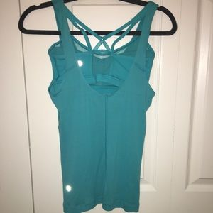 Turquoise work out tank with built in bra